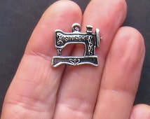 6 Sewing Machine Charms Antique  Silver Tone - SC420