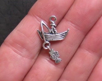 5 Fishing Charms Antique  Silver Tone Fisherman in a Boat 3D - SC186
