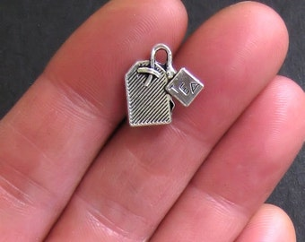 8 Teabag Charms Antique  Silver Tone - SC513