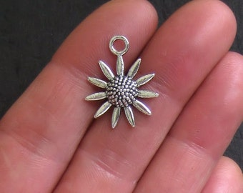 6 Sunflower Charms Antique  Silver Tone Beautiful Detail - SC496