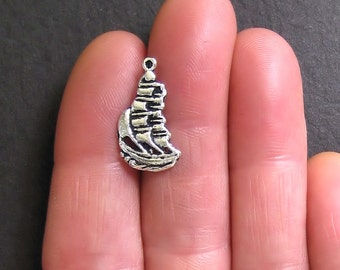 10 Tall Ships Charms Antique  Silver Tone - SC530