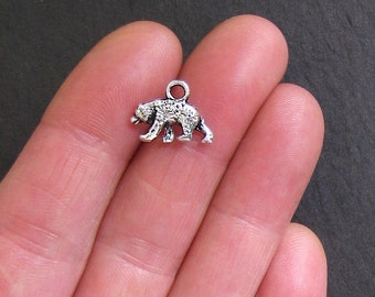 8 Bear Charms Antique  Silver Tone Grizzly or Black Bear - SC764