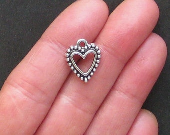 10 Heart Charms Antique  Silver Tone with Lovely Beaded Edge - SC1062