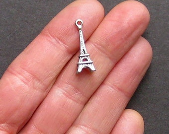 BULK 25 Eiffel Tower Charms Antique  Silver Tone 3D Great Detail - SC801