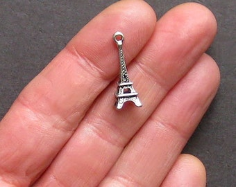 5 Eiffel Tower Charms Antique  Silver Tone 3D Great Detail - SC801