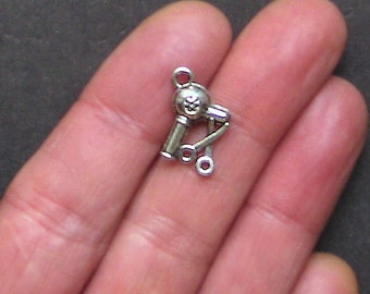10 Hairdresser Charms Antique  Silver Tone 2 Sided Just Adorable - SC1328