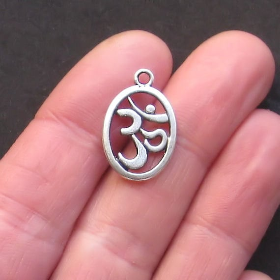 6 OM Charms Antique  Silver Tone 2 Sided - SC818