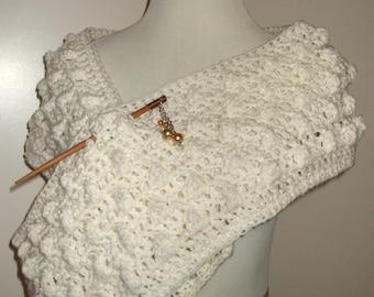 Hand Crochet Popcorn Scarf in Winter White