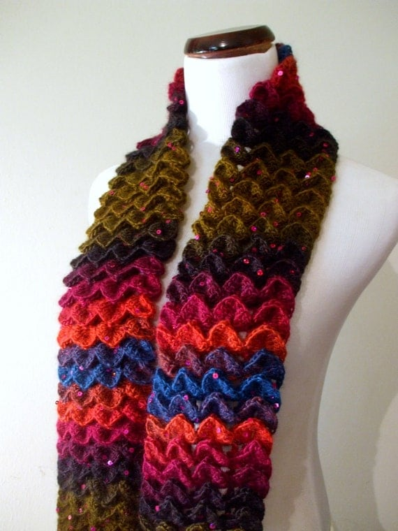 Hand Crochet Crocodile Stitch Scarf in Multi Jewel Tones with Sequins