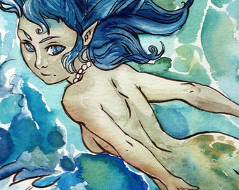 Mermaid Art Painting Print - 8 x 10 Watercolor Mermaid Art - Mermaid Ocean Fantasy Art Seascape Print