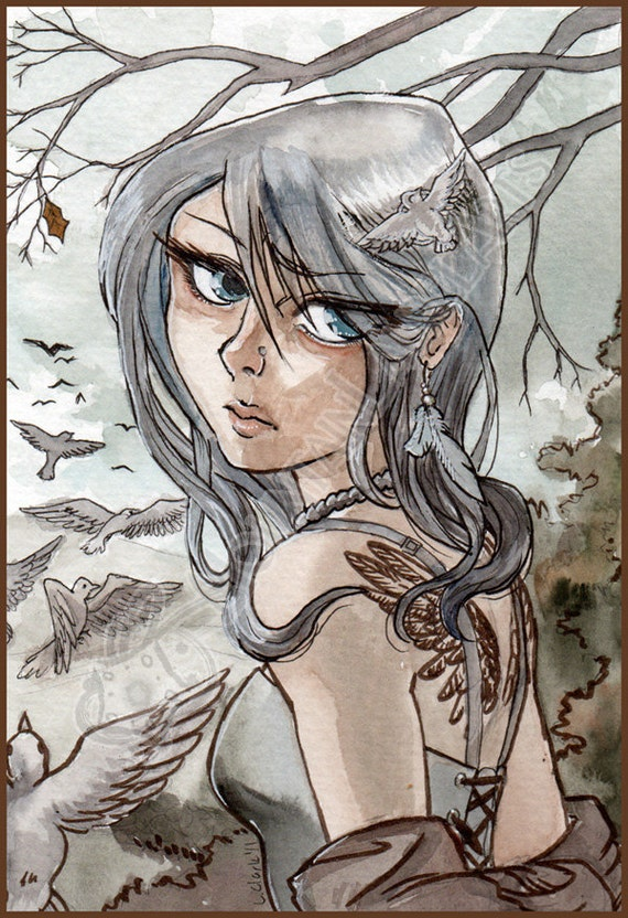 Original watercolor painting - Anime Style Low Brow Art - November Wings - Small Painting Fine Art