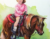 How About Those Cowgirls watercolor painting pony and little girl