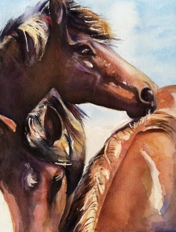 art original watercolor young horse painting
