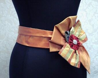 Bridal Sash,  Autumn /  Fall Wedding, Orange And Red Silk Bow Bridal Sash, Wedding Sash, Bridal Sashes, Bridal Belts, Bridal Accessories