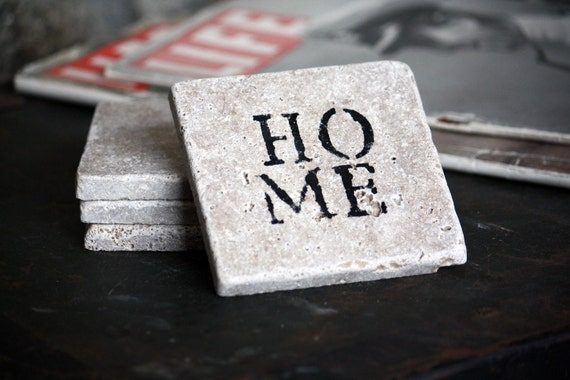 HOME Natural Tumbled Marble Handpainted Coaster Set - Rustic Home Decor - Customizable