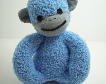 Sock monkey plush toy for babies and toddlers in blue and grey, baby safe stuffed toy monkey, baby shower gift for boys