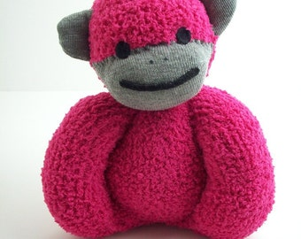 Baby safe sock monkey stuffed toy in deep pink and grey, sock monkey toy for newborns and toddlers, baby safe plush toy, baby shower gift