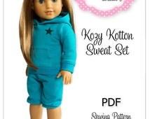 PDF Sewing Pattern for 18 Inch American Girl Doll Clothes - Kozy Kotton Sweat Set ePattern