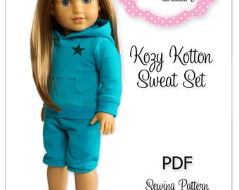 PDF Sewing Pattern for 18 Inch American Girl Doll Clothes - Kozy Kotton Sweat Set ePattern