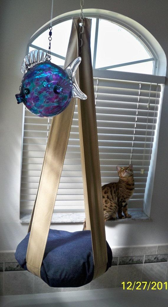 Denim & Khaki Single Hanging Pet Bed Kitty Cloud Cat Bed