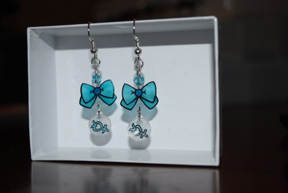 Sailor Mercury Blue Bow and Symbol Earrings