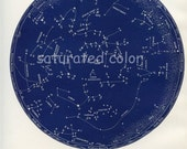 April / May Night Sky Constellations Star Chart Map -  Zodiac Map - Aries Taurus Gemini - 1887 - Vintage