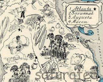 Georgia Map 1931 ORIGINAL Vintage  Picture Map - Antique Charming Teal Aqua - Atlanta Savannah Augusta Macon Hiawassee Macon RARE USA Map