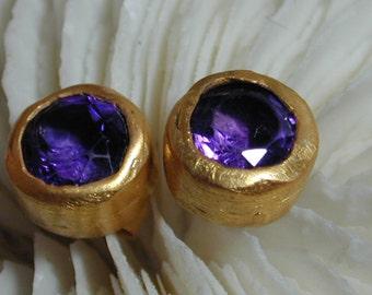Amethyst post earrings ,Round gemstone ,Every day earrings ,Classic earrings ,Stud earrings ,Earrings for her ,wedding earrings