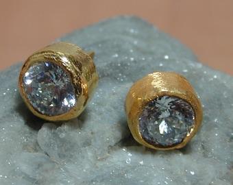 Gold Stud earrings ,Gold zircon earrings ,Women earrings ,Yellow gold studearrings ,Wedding earrings ,Medium gold ea...