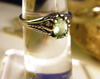 Green Genuine Tsavorite Garnet Antiqued Ring Sterling Silver custom size 4 5 6 7 8 9 10 handmade fine jewelry