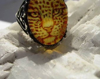 Genuine Carved Amber Jaguar Cat Ring Sterling Silver Scroll Intaglio Cameo handmade fine jewelry custom half sizes 4 5 6 7 7.5 8 8.5 9 10