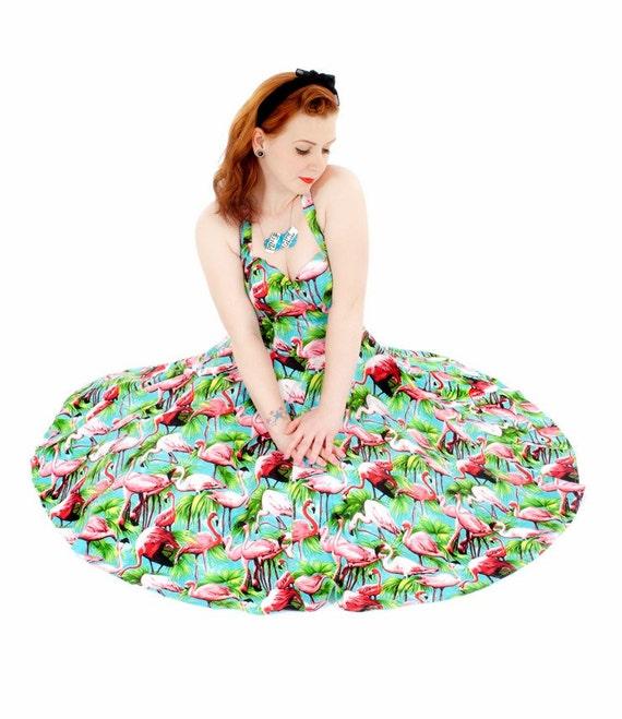 Flamingo Print Turquoise 50's dress, halterneck, circle skirt, summer, vintage, sassy, bright, pink, 1950's