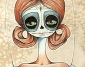 Dia de los Muertos sugar skull mini print . Mary Elena ACEO