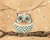cute owl ACEO mini print . little blue