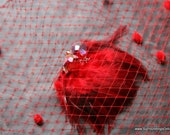 Ruby Red Dotted Veil Netting - Russian or French Net Birdcage Material, Half Yard or Full 1 Yard