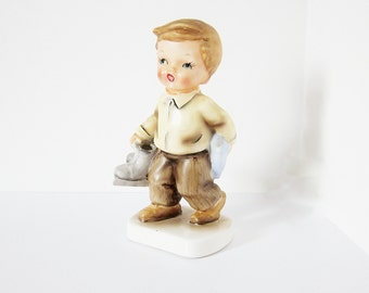 Collectible Figurine Boy With Ice Skates - Vintage Orion Japan - 1960s 1950s Kitsch Home Decor - Unique Gift - Porcelain Ceramic Children