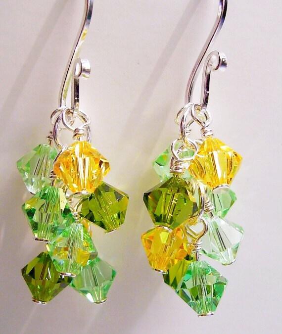 Spring Green - Swarovski Crystal Cluster, Sterling Silver Earrings, Shades Of Spring Green