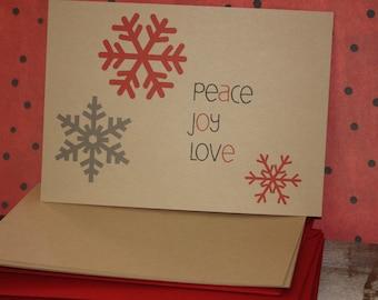 Peace Joy Love note card set