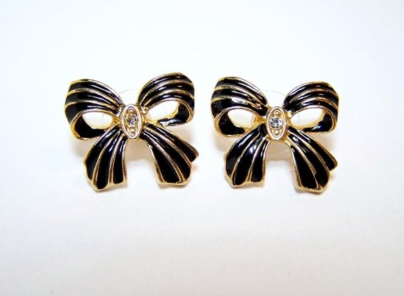 RESERVED. VINTAGE Black Bow Earrings with Rhinestones in Gold Setting, post backings 1980s