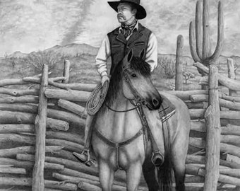 Drawing of Arizona cowboy with saguaro. Mesquite stacked fence background. Reproduction