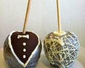 Bride and Groom Wedding Gourmet Caramel Apples