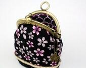 Purse Handbag - Sakura Polka Dot - Cotton Fabric with Metal Frame & Bag Belt