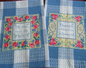 TULIP TOWELS LOVE and Happiness Blue and White Block Plaid All Cotton Love Quotes Free Domestic Shipping