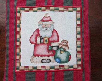 SANTA TOWEL Red and Green Striped Cotton Hand Towel Diana Marcum Fabric Applique on Christmas Dish Towel