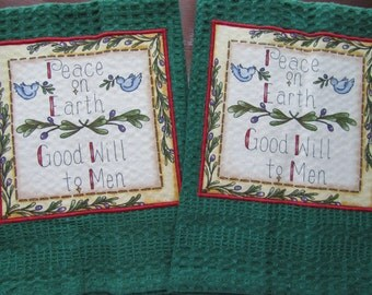 PEACE on EARTH Pine Green Waffle Weave Cotton Hand Towels Set of 2 Spread Good Will All Season Long Great Gift