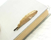 Feather Bobby Pin Gold Feather Hair Pin Golden Nature Hair Accessories Woodland Accessories Nature Inspired Bird Feather Hair Clip Barrette