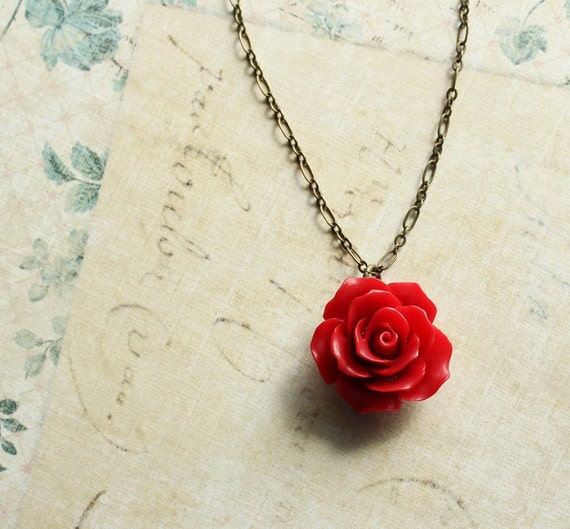 Red rose necklace red flower pendant resin floral jewellery like this item mozeypictures Image collections