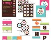 DIY - Printable: Customized Retro Party Set - 7 items