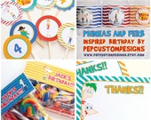 DIY -  Printable: Customized Phineas and Ferb Party Set -  10 items