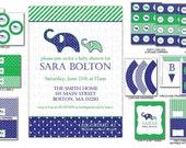 DIY -  Printable: Customized Elephant Baby Shower - Set of 12 Items